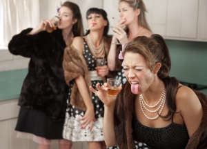 Woman Reacts to a Strong Drink